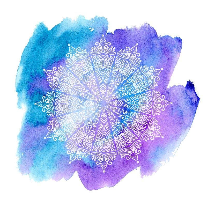 Vit mandala på vattenfärgbakgrund royaltyfri illustrationer