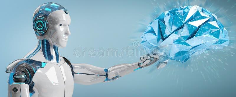 Vit manhumanoid som skapar tolkningen för konstgjord intelligens 3D vektor illustrationer