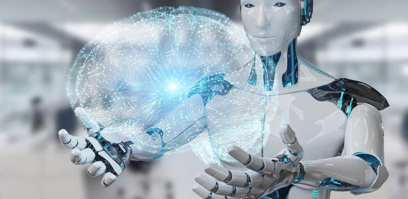 Vit manhumanoid som skapar tolkningen för konstgjord intelligens 3D stock illustrationer