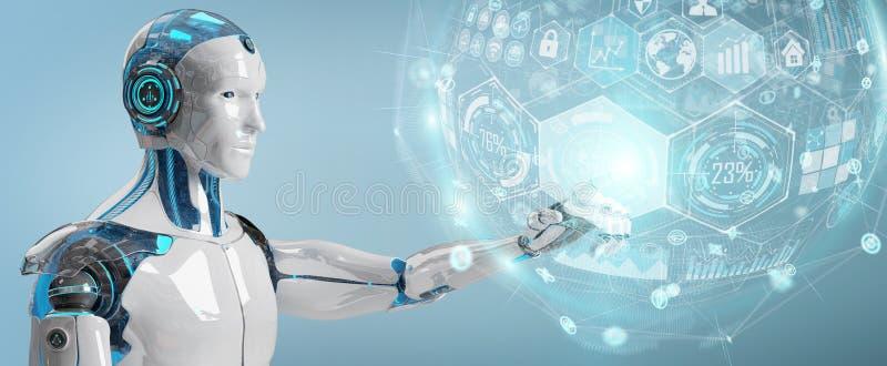 Vit manlig cyborg som använder den digitala tolkningen för diagrammanöverenhet 3D royaltyfri illustrationer