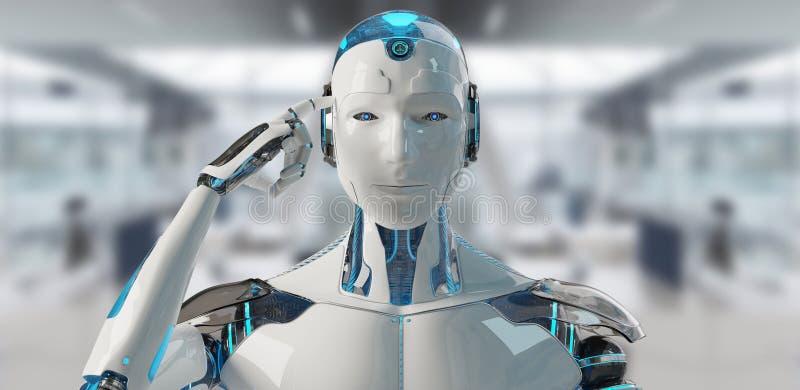 Vit manlig cyborg som tänker och trycker på hans tolkning för huvud 3D stock illustrationer