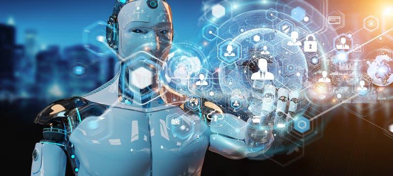 Vit manlig robot genom att använda den digitala tolkningen för skärmmanöverenhet 3D royaltyfri illustrationer