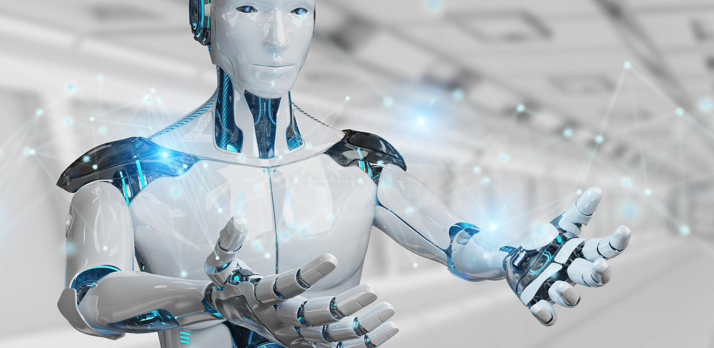 Vit manrobot genom att använda tolkningen för anslutning för digitalt nätverk 3D vektor illustrationer