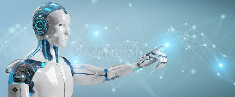 Vit manrobot genom att använda tolkningen för anslutning för digitalt nätverk 3D stock illustrationer