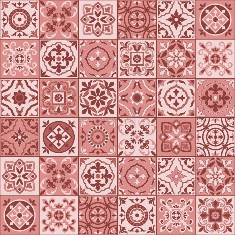Vit marockansk marsalafärg för ursnygg sömlös modell, portugistegelplattor, Azulejo, prydnader stock illustrationer