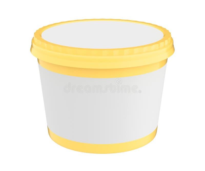 Vit matplast- badar behållaren för efterrätt, yoghurt, glass, sura Sream eller mellanmål Ordna till för din design Gult lock royaltyfri illustrationer
