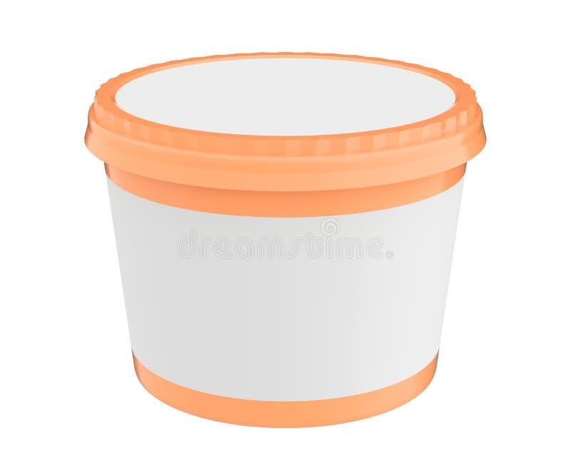 Vit matplast- badar behållaren för efterrätt, yoghurt, glass, sura Sream eller mellanmål Ordna till för din design orange lock stock illustrationer
