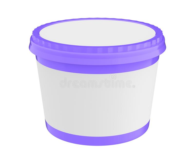 Vit matplast- badar behållaren för efterrätt, yoghurt, glass, sura Sream eller mellanmål Ordna till för din design Purpurfärgat l vektor illustrationer