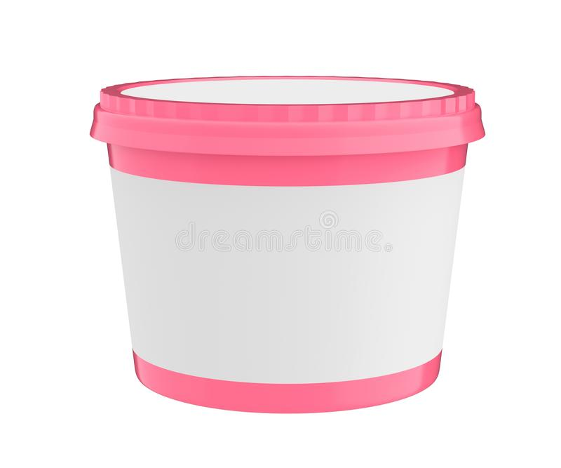 Vit matplast- badar behållaren för efterrätt, yoghurt, glass, sura Sream eller mellanmål Ordna till för din design Rosa lock royaltyfri illustrationer