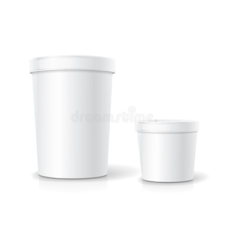 Vit matplast- badar hinkbehållaren för efterrätten, yoghurt vektor illustrationer