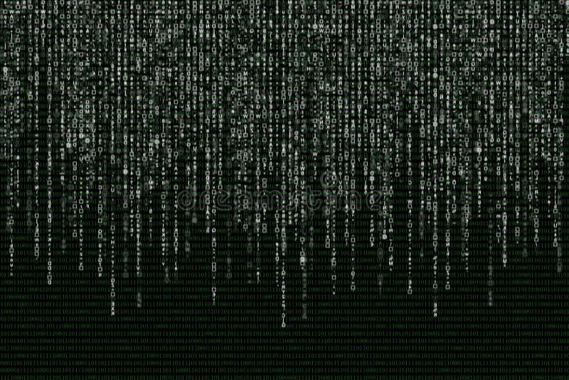 Vit matris på bakgrunden av den gröna binära koden royaltyfri illustrationer