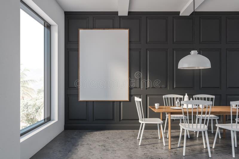Vit matsal för grå färger och med affischen royaltyfri illustrationer