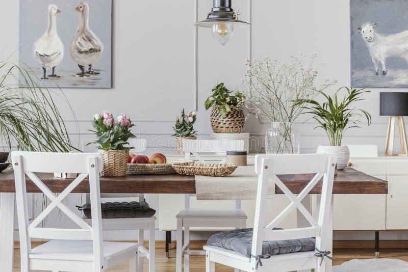 Vit matsalinre med affischer och stolar på trätabellen med blommor Verkligt foto royaltyfri fotografi