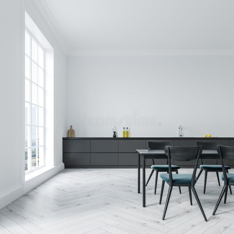 Vit matsalinre, svart tabell royaltyfri illustrationer
