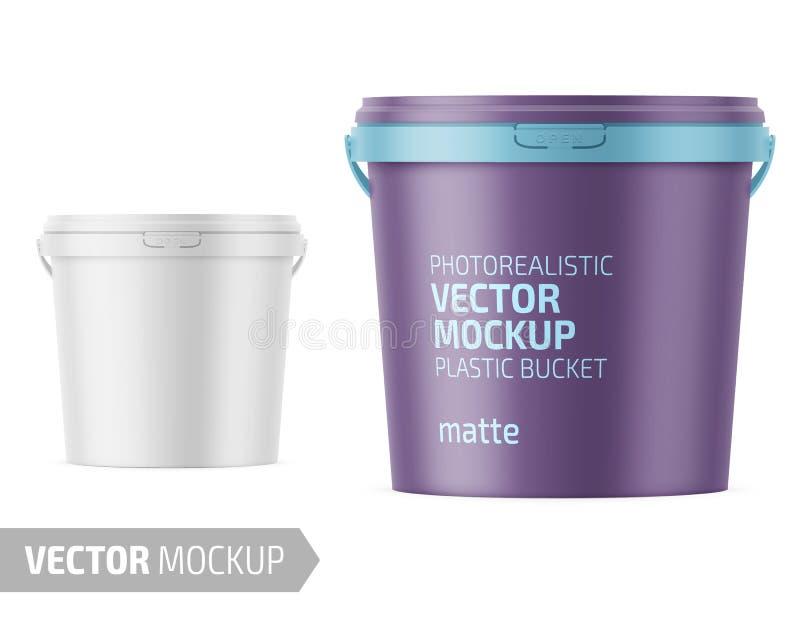 Vit matte plast- hink med lockmodellen vektor illustrationer