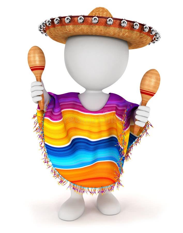 vit mexikan för folk 3d royaltyfri illustrationer