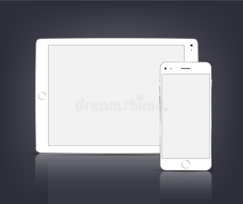 Vit minnestavladator för vektor med den tomma skärmen och telefonen på svart bakgrund realistisk ballonsillustration vektor illustrationer