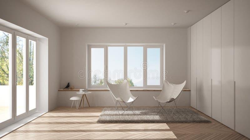 Vit minsta vardagsrum med fåtöljmatta, parkettgolvet och det panorama- fönstret, scandinavian arkitektur, modern inre fotografering för bildbyråer