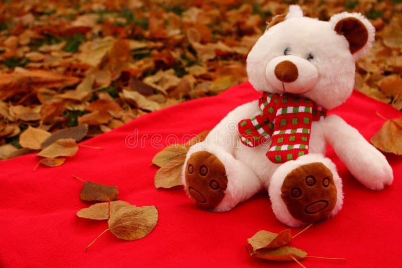 Vit mjuk gullig nallebjörn med halsduksammanträde på röd matta och stupade sidor som julgåvan och garnering arkivbild