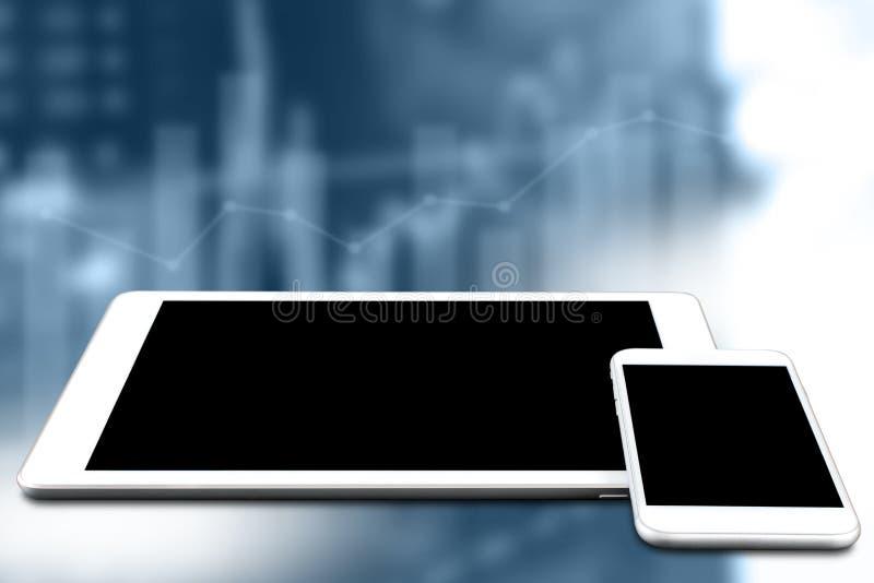 Vit mobiltelefon och minnestavla för modellbild med tom svart skärm på suddig graf- och materielbakgrund Begreppet är teknologino arkivfoto