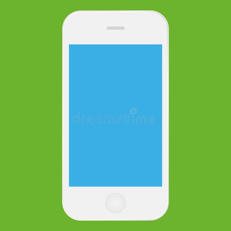 Vit mobiltelefoniphone med symbolsvektorn eps10 för blå skärm Symbol för färg för Smartphone iphone vit för rengöringsduk vektor illustrationer