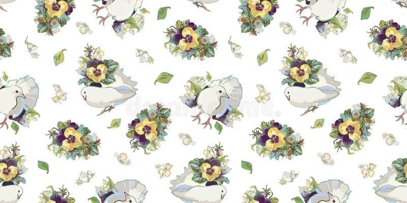 Vit modell med den blommabuketten och fågeln royaltyfri illustrationer