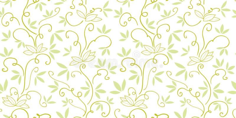 Vit modell med den gröna abstrakta växten stock illustrationer