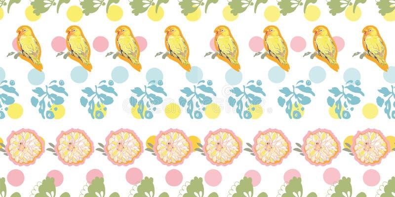 Vit modell med pricken, blom- och fågeln vektor illustrationer