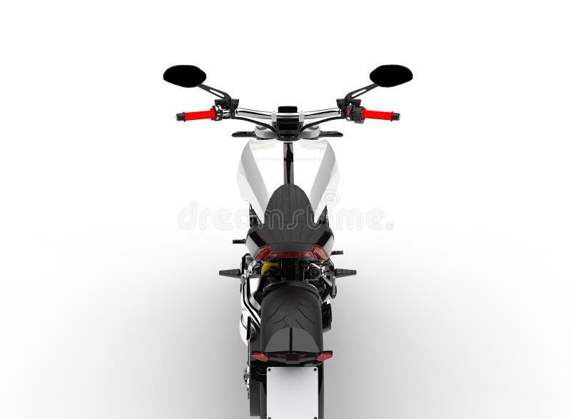 Vit modern kraftig motorcykel för grund - den tillbaka sikten klippte skottet vektor illustrationer