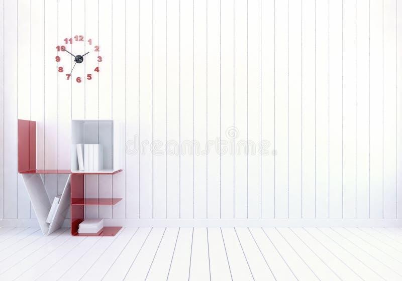 Vit modern ruminre med hyllan för ordförälskelsebok för dag för valentin` s arkivfoton