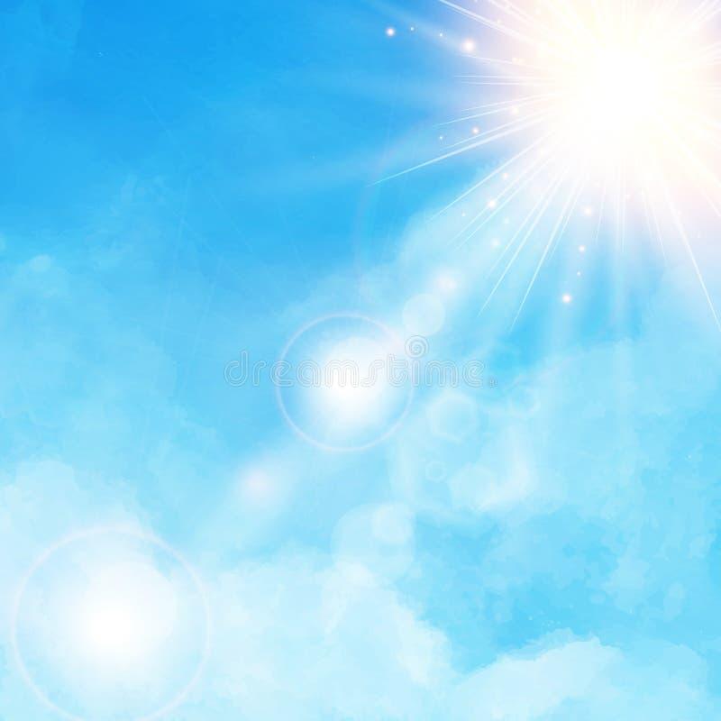 Vit molndetalj i blå himmel med solskendagsljus dåligt
