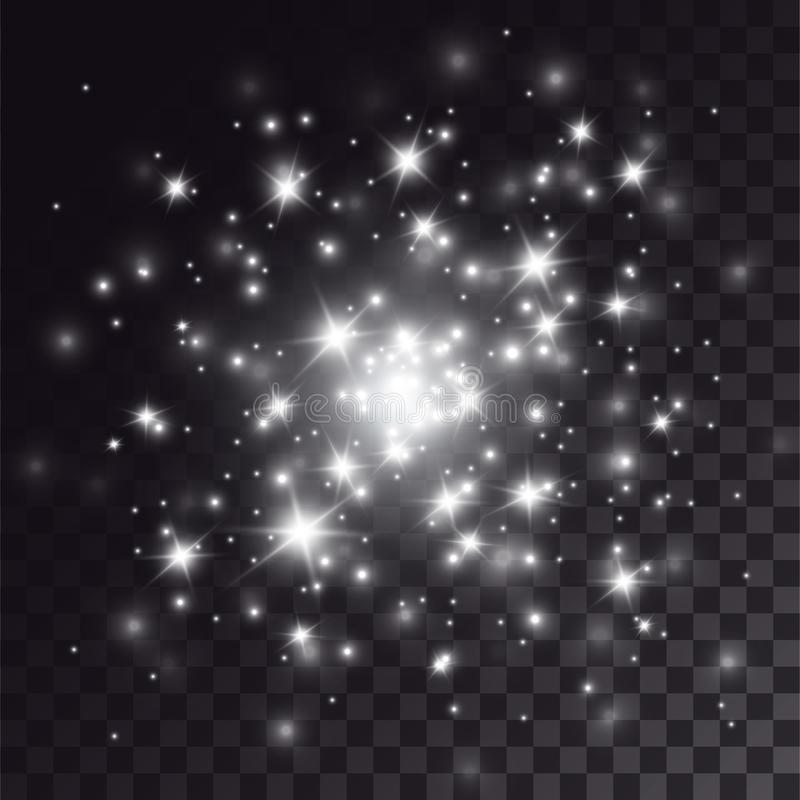 Vit mousserar ljus effekt stock illustrationer