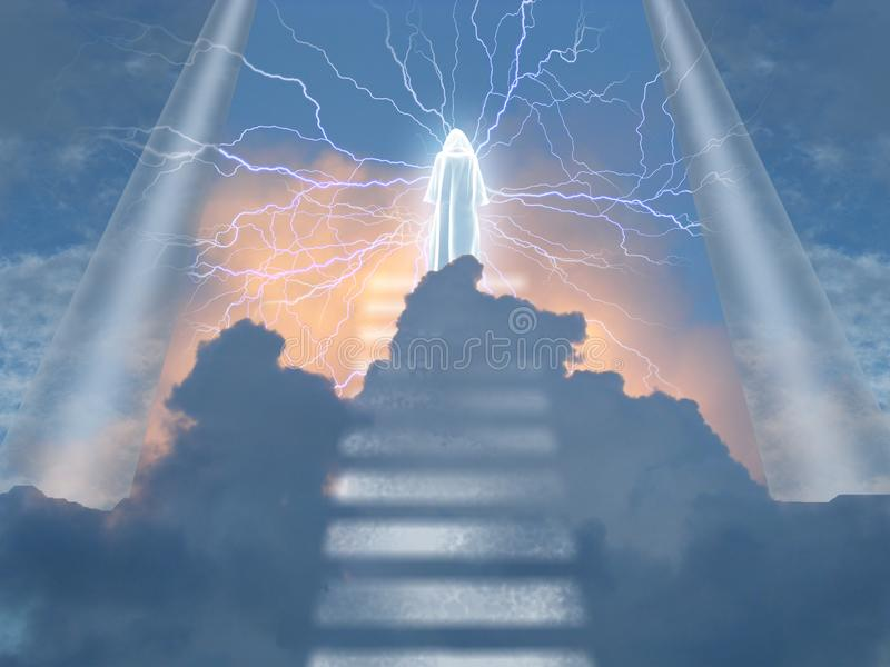 Vit munk i himlar vektor illustrationer