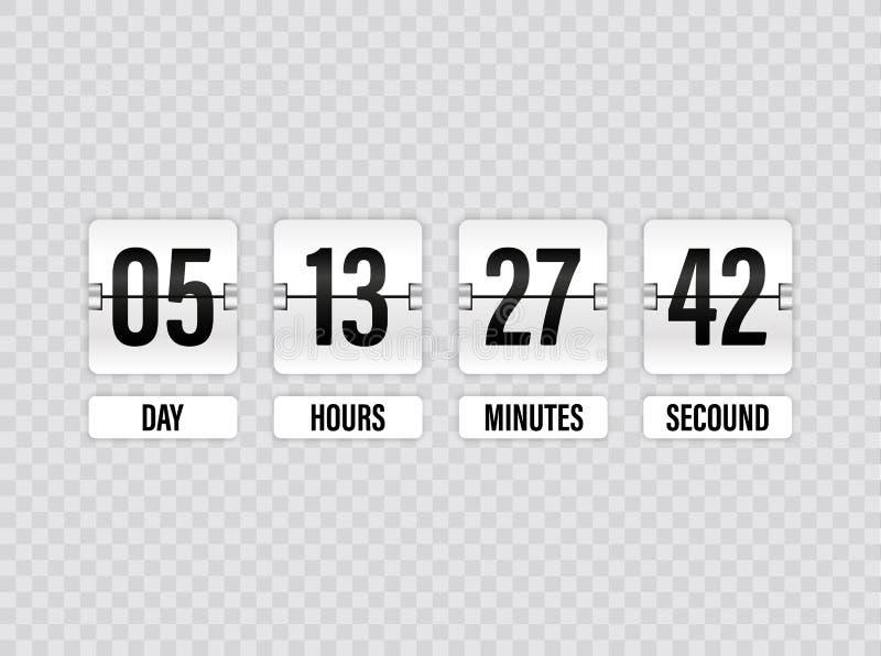 Vit nedräkningtidmätare med vitnummer som isoleras på genomskinlig bakgrund Klockaräknare Vektorillustrationmall stock illustrationer