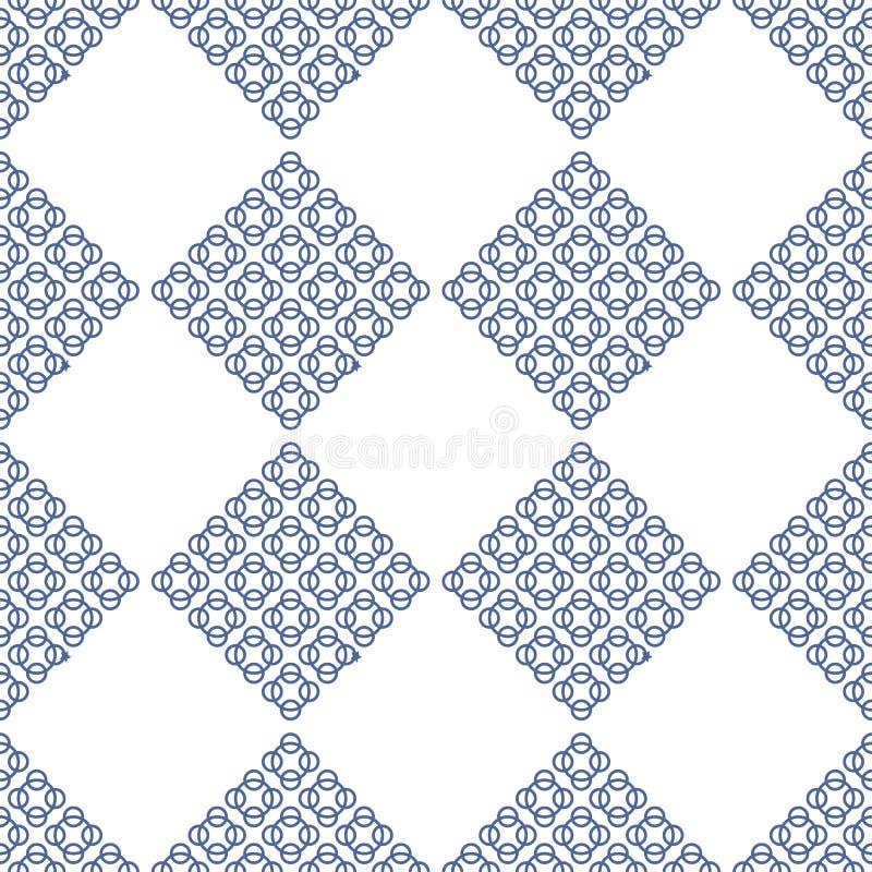 Vit och blå seameless modell för abstrakt modern fractal stock illustrationer