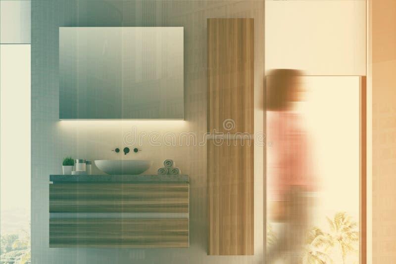 Vit och det mörka träbadrummet sjunker suddigt vektor illustrationer