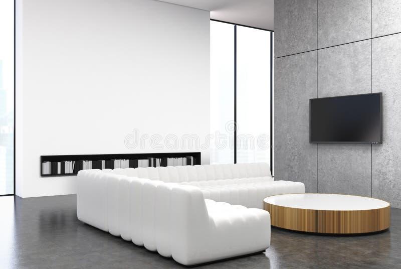 Vit- och grå färgvardagsrum, soffa vektor illustrationer