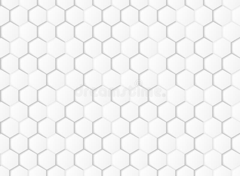 Vit och grå sexhörnig geometrisk för modellpapperssnitt bakgrund för abstrakt lutning Illustrationvektor eps10 stock illustrationer