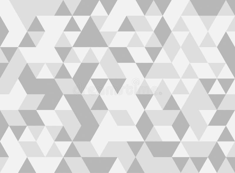 Vit och grå triangeltegelplattatextur, sömlös modell stock illustrationer
