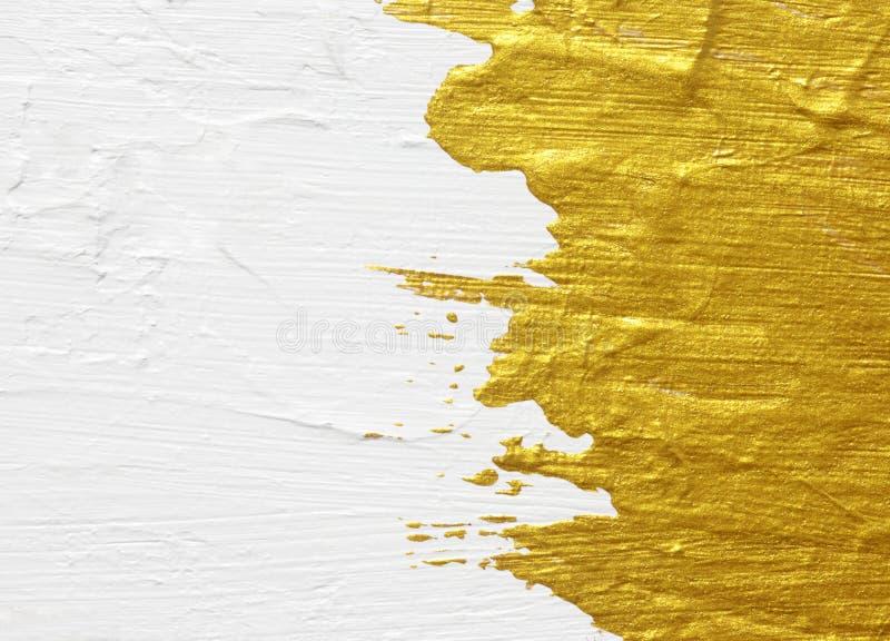 Vit och guld- akryl texturerad målning arkivbild