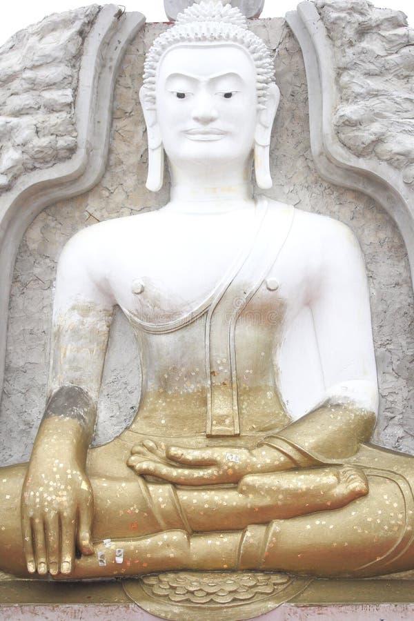 Vit och guld- Buddhabild royaltyfri fotografi