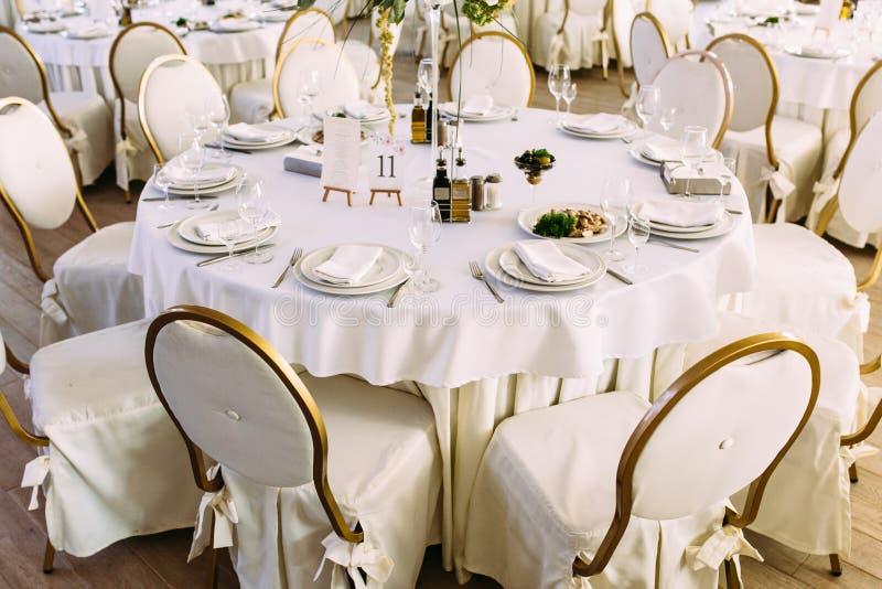 Vit och guld färgade stolar fotografering för bildbyråer