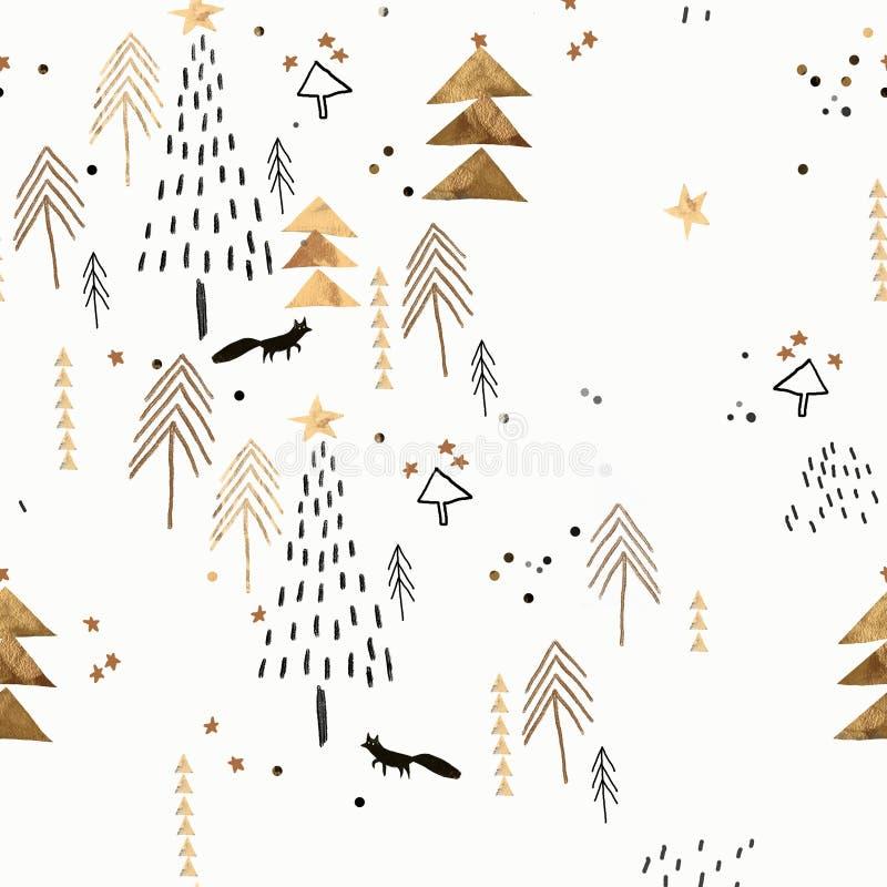 Vit och guld- julmodell royaltyfria bilder