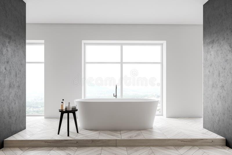 Vit och konkret badruminre royaltyfri illustrationer