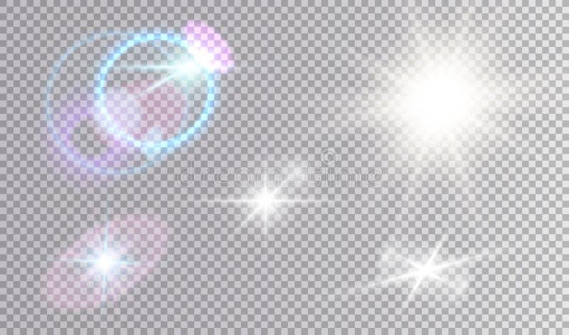 Vit och kulör illustrationuppsättning för ljusa effekter vektor illustrationer