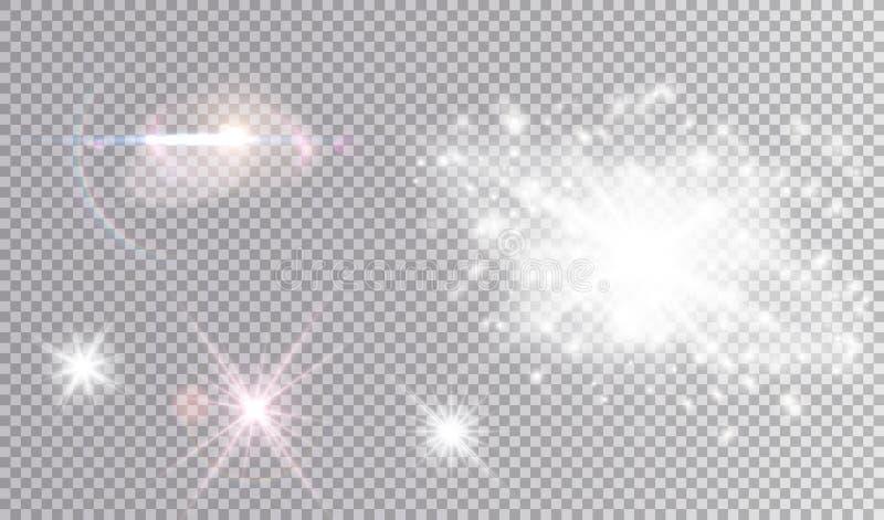 Vit och kulör kosmisk uppsättning för ljusa effekter royaltyfri illustrationer
