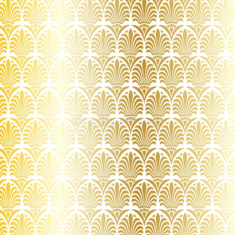 Vit och metallisk guld- grekisk dekorativ vektormodell vektor illustrationer