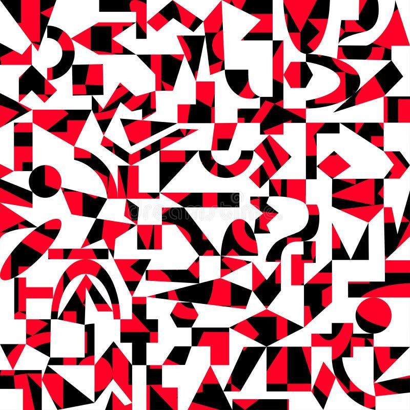 Vit och röd modell för svart, av geometriska former royaltyfri illustrationer