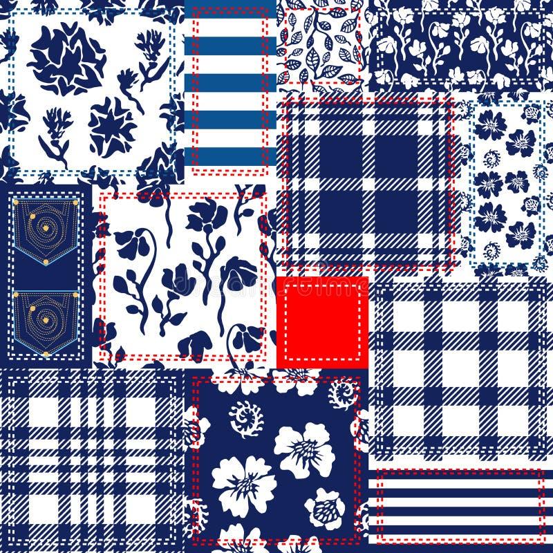 Vit och röd patchwork för blått, Bohemisk stilcollage som göras från bomullsklaffar stock illustrationer