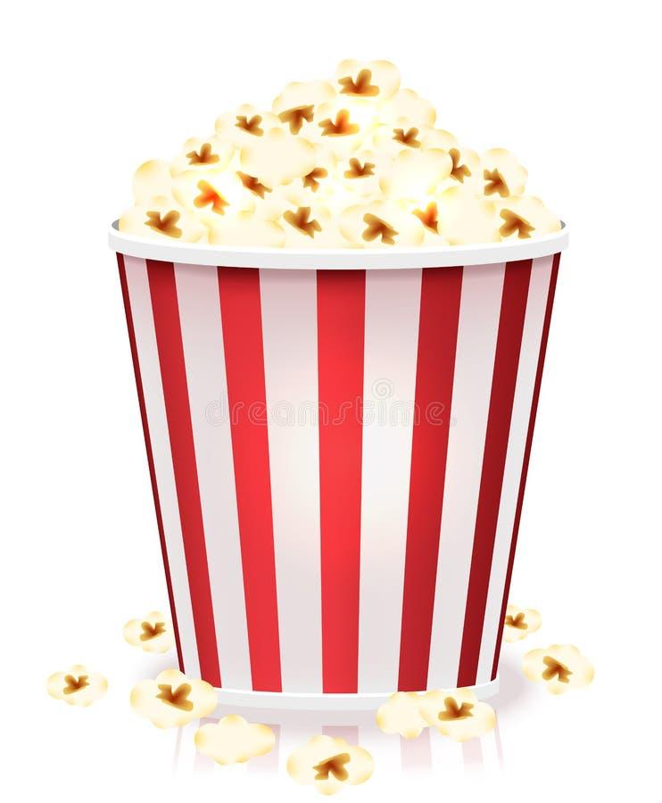 Vit och röd randig hink av popcornkärnor Illustration för vektor för sidosikt som isoleras på vit bakgrund stock illustrationer